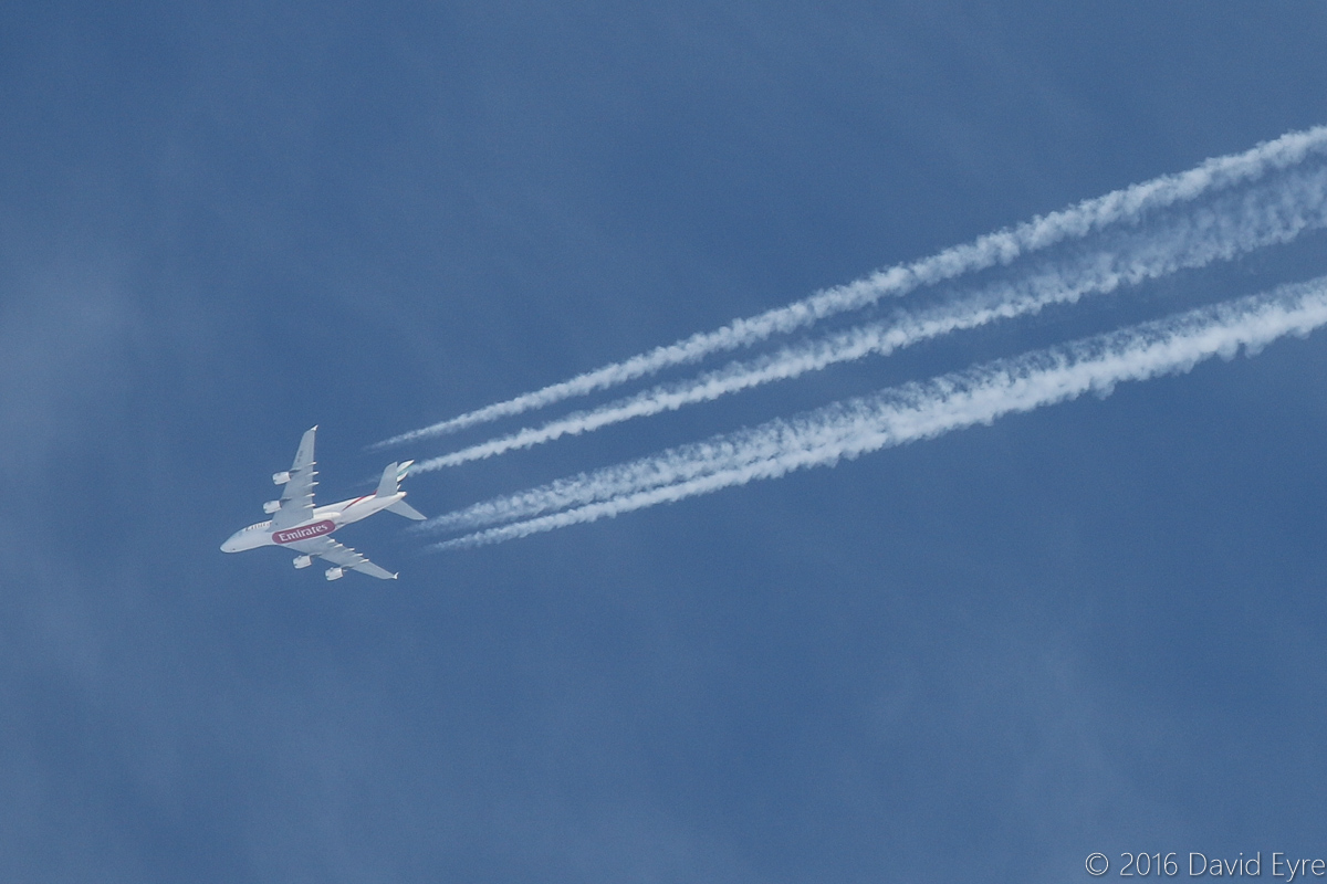 A6-EDD Airbus A380-861 (MSN 020) of Emirates, over the northern suburbs of Perth - Sat 16 April 2016. Flight EK414 from Dubai to Sydney at 4:19pm, heading east at 39,000 feet and 550 knots (1,018 km/h) over Perth. It landed in Sydney at 7:55pm Perth time. Photo © David Eyre