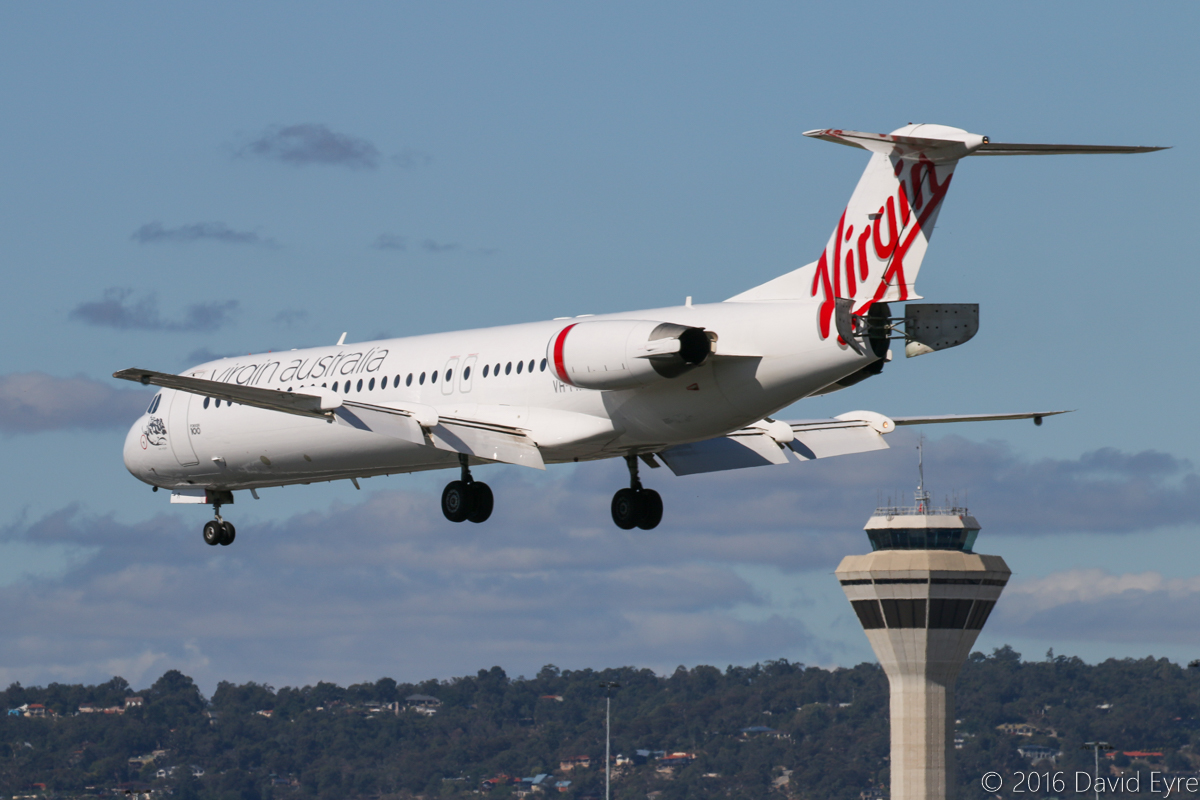 VH-FNR Fokker 100 (MSN 11488) of Virgin Australia Regional Airlines, named 'Lake Argyle', at Perth Airport - Thu 21 April 2016. Flight VA9222 from Busselton, landing on runway 06 at 1:55pm, with the Control Tower in the background. Photo © David Eyre