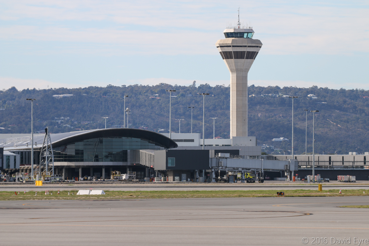 Terminal 1 Domestic and the Control Tower at Perth Airport - Sat 23 April 2016 Viewed from the west side of the airport. Photo © David Eyre