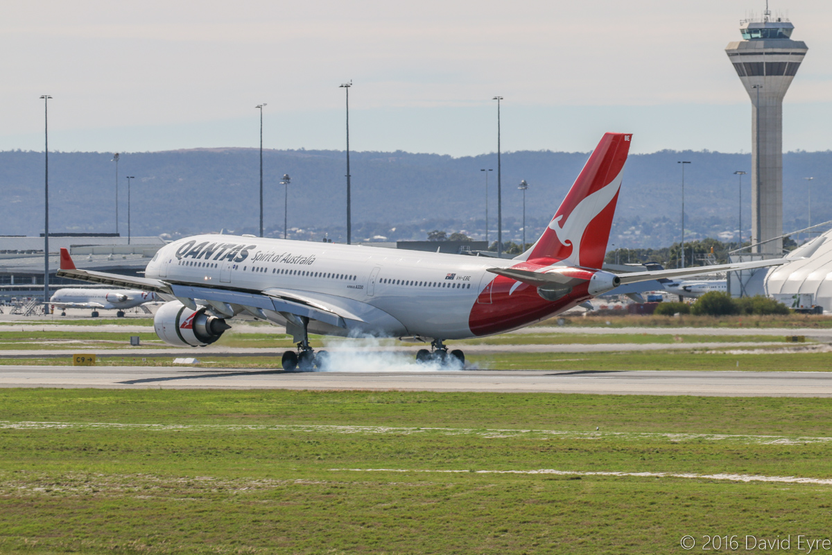 VH-EBE Airbus A330-202 (MSN 842) of Qantas, named 'Kangaroo Valley', at Perth Airport - Sat 23 April 2016. Originally ordered by Qantas, this aircraft was instead delivered to their low-cost subsidiary airline Jetstar in June 2007. When Jetstar took delivery of Boeing 787-8 Dreamliners (also originally ordered by Qantas), the A330s were returned to Qantas, and VH-EBE was returned in October 2015. Seen here landing on runway 03 at 11:25 as QF589 from Brisbane. Photo © David Eyre