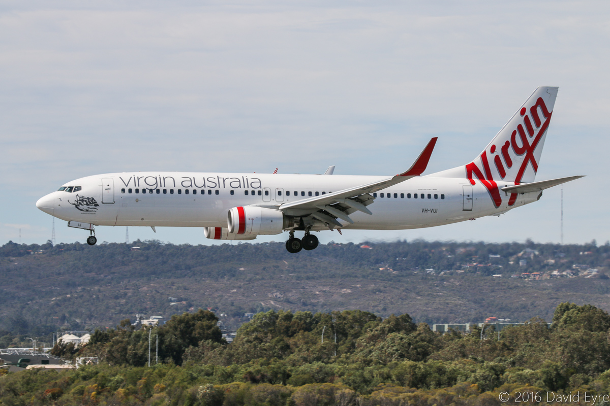 VH-VUI Boeing 737-8FE (MSN 34441/2015) named 'Kewarra Beach', of Virgin Australia, at Perth Airport - Sat 23 April 2016. Flight VA679 from Melbourne, landing on runway 03 at 11:21am. Photo © David Eyre