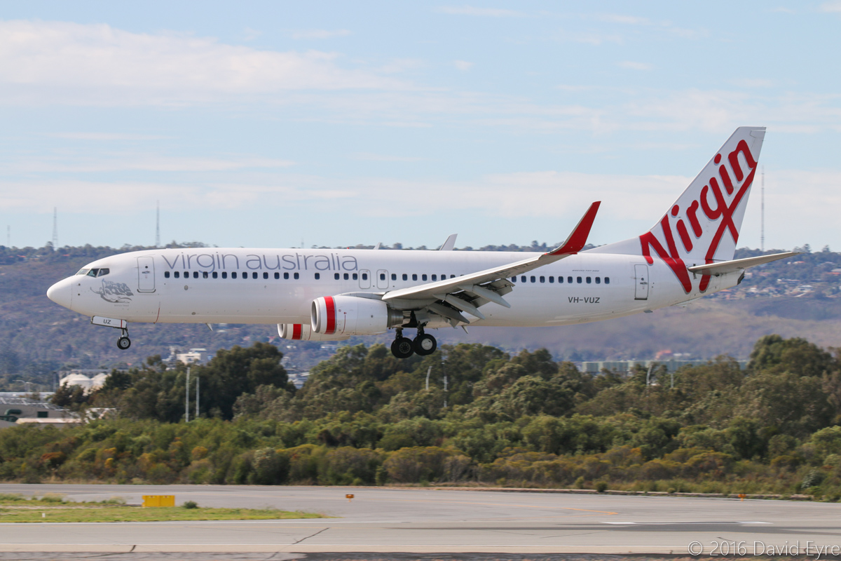 VH-VUZ Boeing 737-8FE (MSN 39921/3536) 'Lennox Head' of Virgin Australia, at Perth Airport - Sat 23 April 2016. Flight VA551 from Sydney, landing on runway 03 at 9:47am. Photo © David Eyre