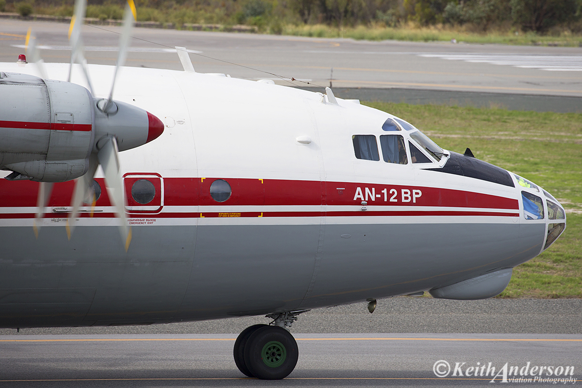UR-CAK Antonov An-12BP (MSN 6343707) of Ukraine Air Alliance, at Perth Airport – 24 April 2016.