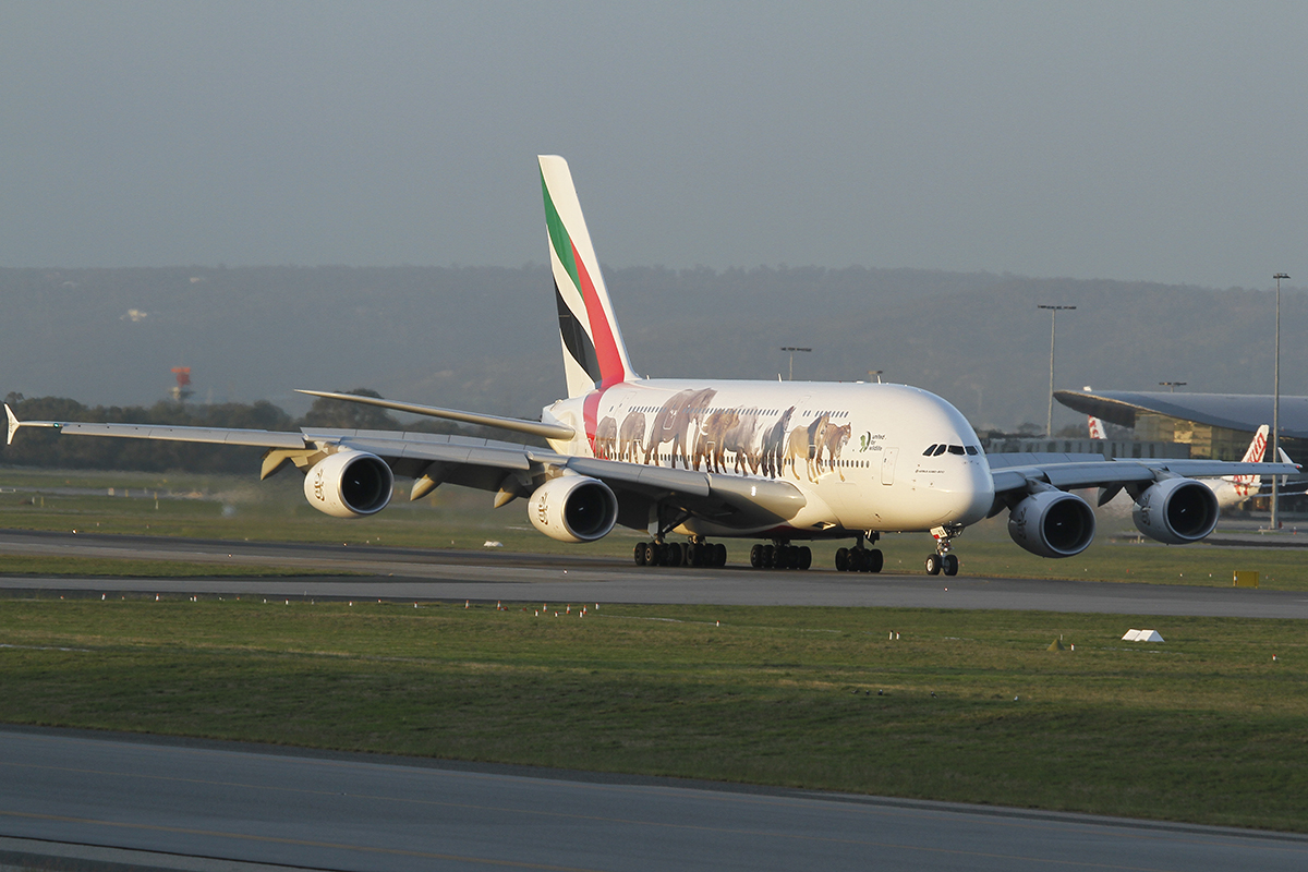 A6-EEQ Airbus A380-861 (MSN 141) of Emirates at Perth airport – 29 April 2016.