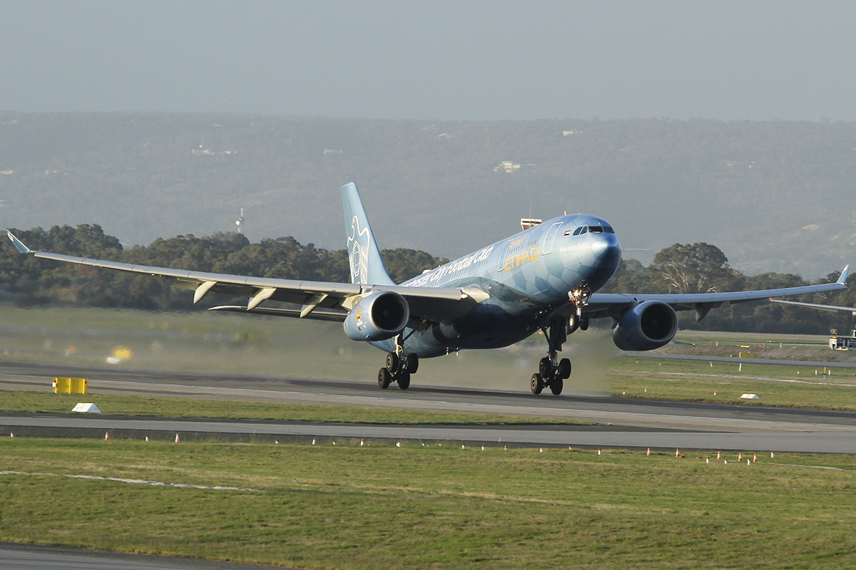 "A6-EYE Airbus A330-243 (MSN688) ""Blue Moon Rising"" of Etihad at Perth airport – 29 April 2016."