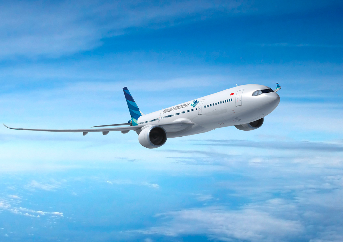 Artist impression of the Airbus A330-900neo in Garuda Indonesia livery. © Airbus