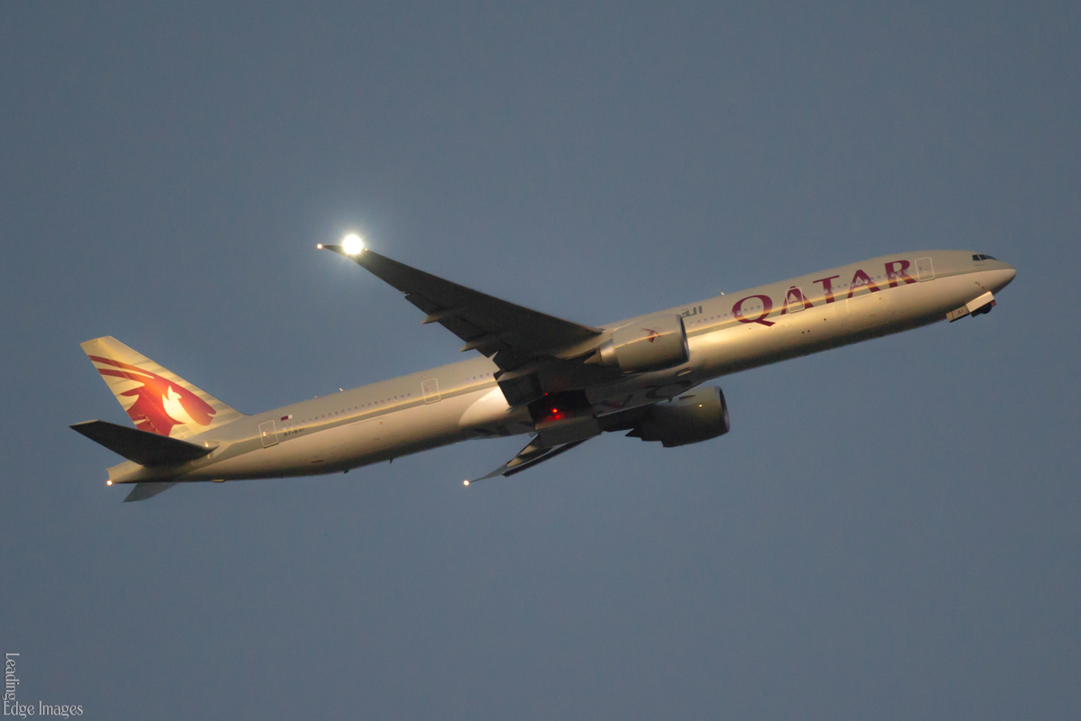 A7-BAI Boeing 777-3DZ ER (MSN 36095/742) of Qatar Airways named 'Um Taqa', over Henley Brook, north of Perth - Fri 29 April 2016. Flight QR902 from Doha at 6:02pm, lowering its landing gear as it turns right to join the final approach to runway 21 at Perth Airport. Photo © Richard Kreider