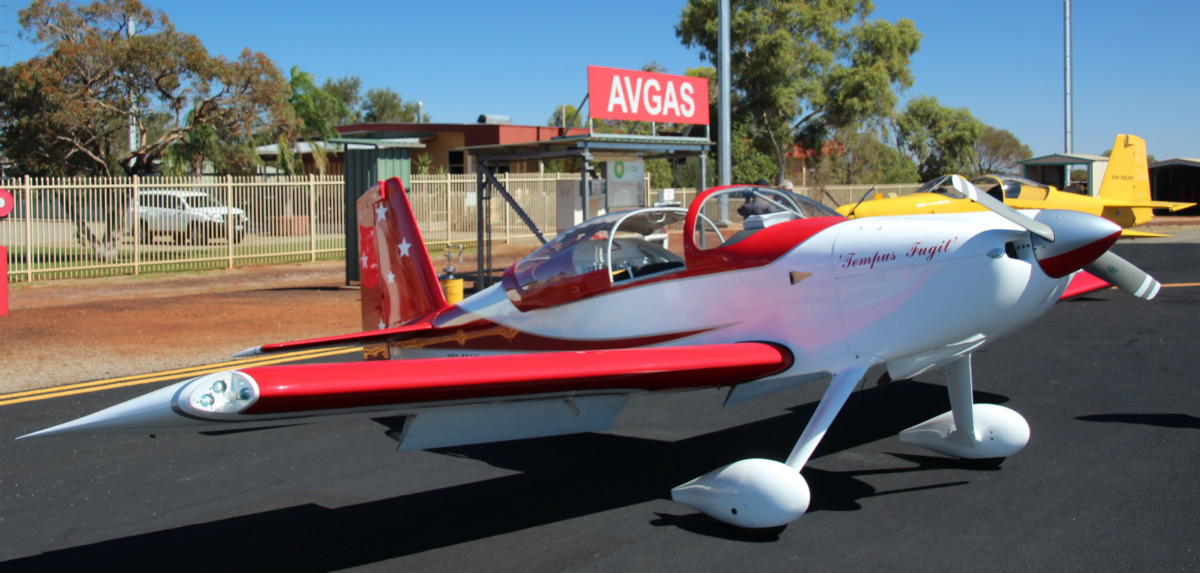 VH-MAI Vans RV-7 (MSN 73184) named 'Tempus Fugit' (Latin for 'Time Flies'), owned by Robert Main of Boyanup, WA, at Meekatharra Airport – 29 April 2016. The aircraft dropped in for fuel, on route to the Kimberley's