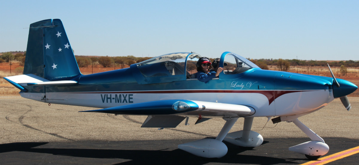 VH-MXE Vans RV-7A (MSN 72100) named 'Lady V', owned by Malcolm Vivian at Meekatharra Airport – 29 April 2016.