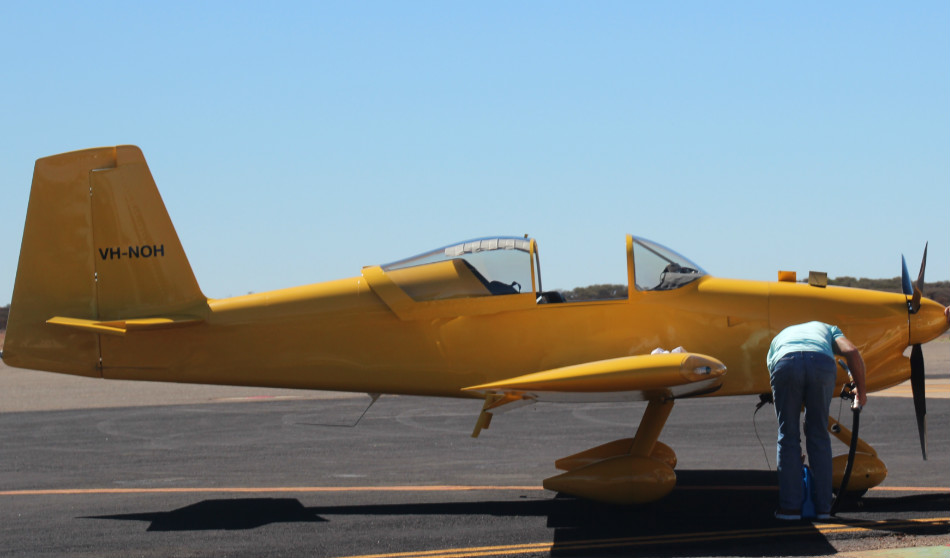 VH-NOH Vans RV7 (MSN 73307) operated by Wllis Aircraft Service Pty Ltd at Meekatharra Airport – 29 April 2016. The aircraft dropped in for fuel, on route to the Kimberley's