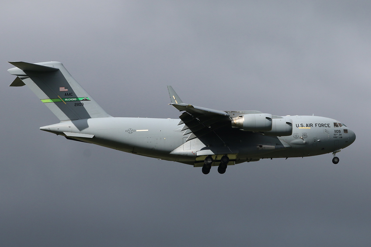 02-1109 Boeing C-17A Globemaster III (MSN P109) of the US Air Force 62nd Airlift Wing / 446th Airlift Wing based at McChord Air Force Base, Washington USA arriving at RAAF Base Pearce 2 May 2016 at 2:38 pm.