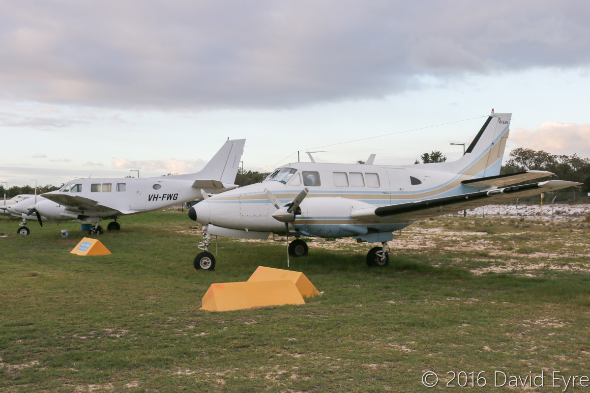 VH-FWG Beech A65-8200 Queen Air (MSN LC-298) of Jingle Holdings Pty Ltd and VH-EYG Beech 65-B80 Queen Air (MSN LD-334) owned by Bruce Symes, at Jandakot Airport - Mon 2 May 2016. Neither of these aircraft have flown for some time. VH-FWG was built in 1968, ex N8438N. VH-EYG was built in 1967, ex N7834L. Photo © David Eyre