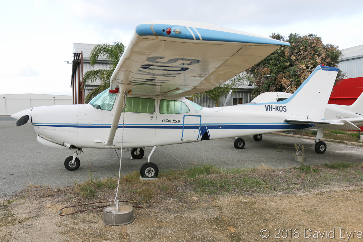 VH-KOS Cessna 172RG Cutlass RG II (MSN 172RG0536) owned by Gregory S Priest, at Jandakot Airport - Mon 2 May 2016. Built in 1980, ex ZS-KDC, N5458V. Photo © David Eyre