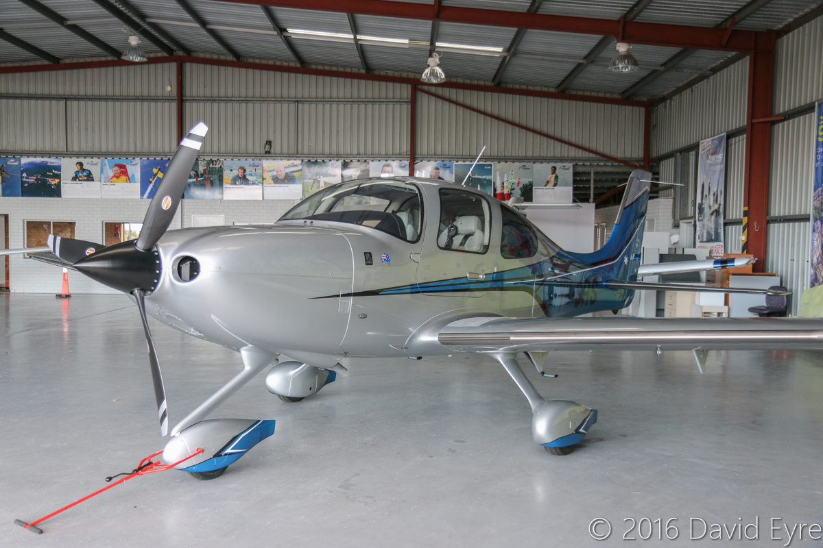 VH-SRS Cirrus SR22 Generation 5 Australis (MSN 4307) owned by Cirrus Perth Pty Ltd, at Jandakot Airport – Mon 2 May 2016. Built in 2016 and registered on 31 March 2016, ex N156SR. The Australis version of the SR22 is only available in Australia and features air conditioning, UV protection windows, Personal Locator Beacon, four-person survival kit, four-in-one back-up gauges, claw tie-downs and a two-year subscription to the AvPlan EFB. Photo © David Eyre