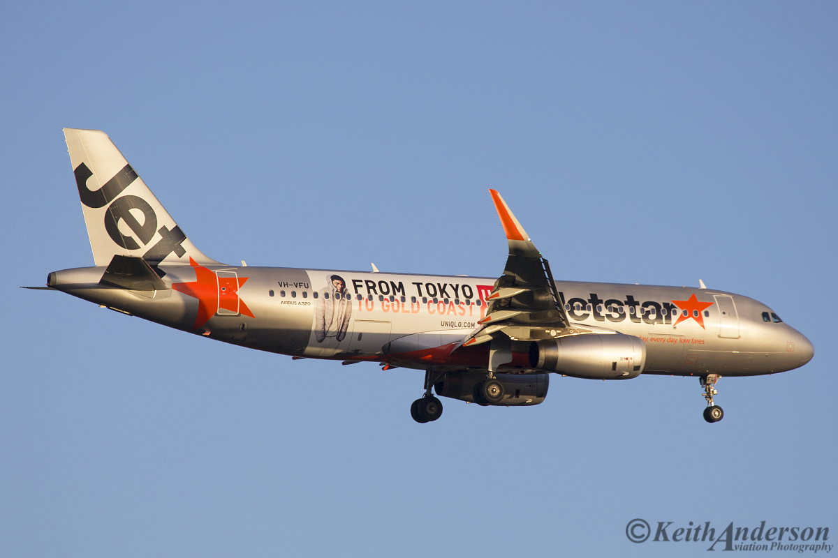 VH-VFU Airbus A320-232 (sharklets) (MSN 5814) of Jetstar, with 'Uniqlo: From Tokyo to Gold Coast' livery at Perth Airport - Sat 7 May 2016.