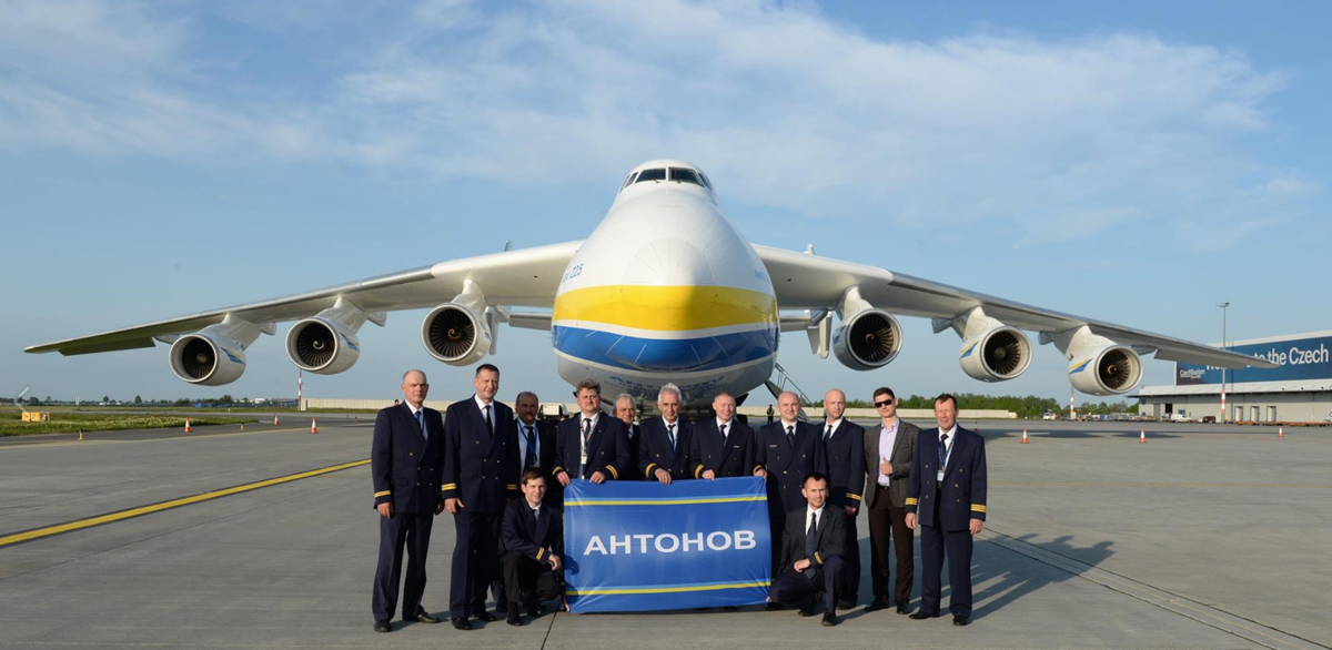 UR-82060 Antonov An-225 Mriya (MSN 19530503763/01-01) of Antonov Airlines (Antonov Design Bureau) at Prague Airport, Czech Republic - Wed 11 May 2016. Antonov crew standing in front of the aircraft. Photo courtesy Antonov Company