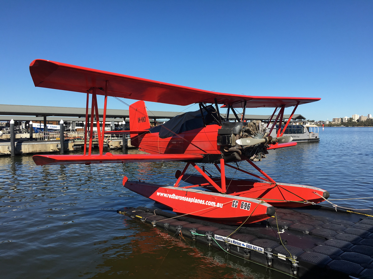 VH-KKD Grumman G-164A Sea-Cat (converted Ag-Cat) (MSN 286) operated by Red Baron Seaplanes (Far North Queensland Airwork Pty Ltd) on the Swan River at Barrack Street Jetty, Perth - Wed 11 May 2016. Operates commercial sightseeing flights. Built in 1964 as an Ag-Cat crop sprayer, registered N724Y. In 1989, it was imported into Australia and registered VH-KKD. The chemical hopper was removed and two passenger seats were installed. In 1992, it was converted to a seaplane 'Sea-Cat'. In 2006, it was acquired by Red Baron Seaplanes and based in Townsville, QLD and was recently moved by road to Perth. It is to spend 6 months in Perth and 6 months in Townsville, operating scenic flights. Photo © Scott Palmer