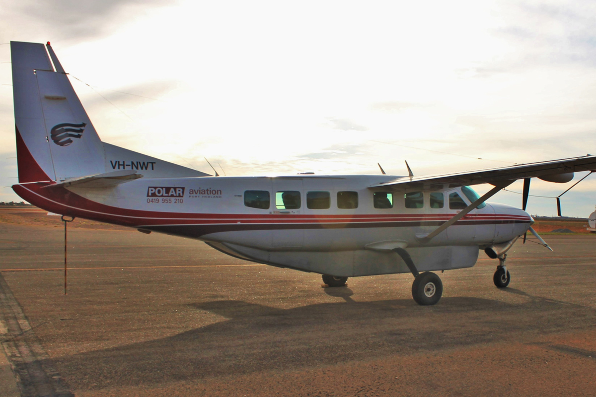 VH-NWT Cessna 208B Grand Caravan (MSN 208B0733) of Polar Aviation, at Port Hedland Airport - Wed 11 May 2016. Built in 1999, ex N1269N, N5109W. Polar Aviation is an air charter and flight training company based at Port Hedland. Photo © Jonathan Williams