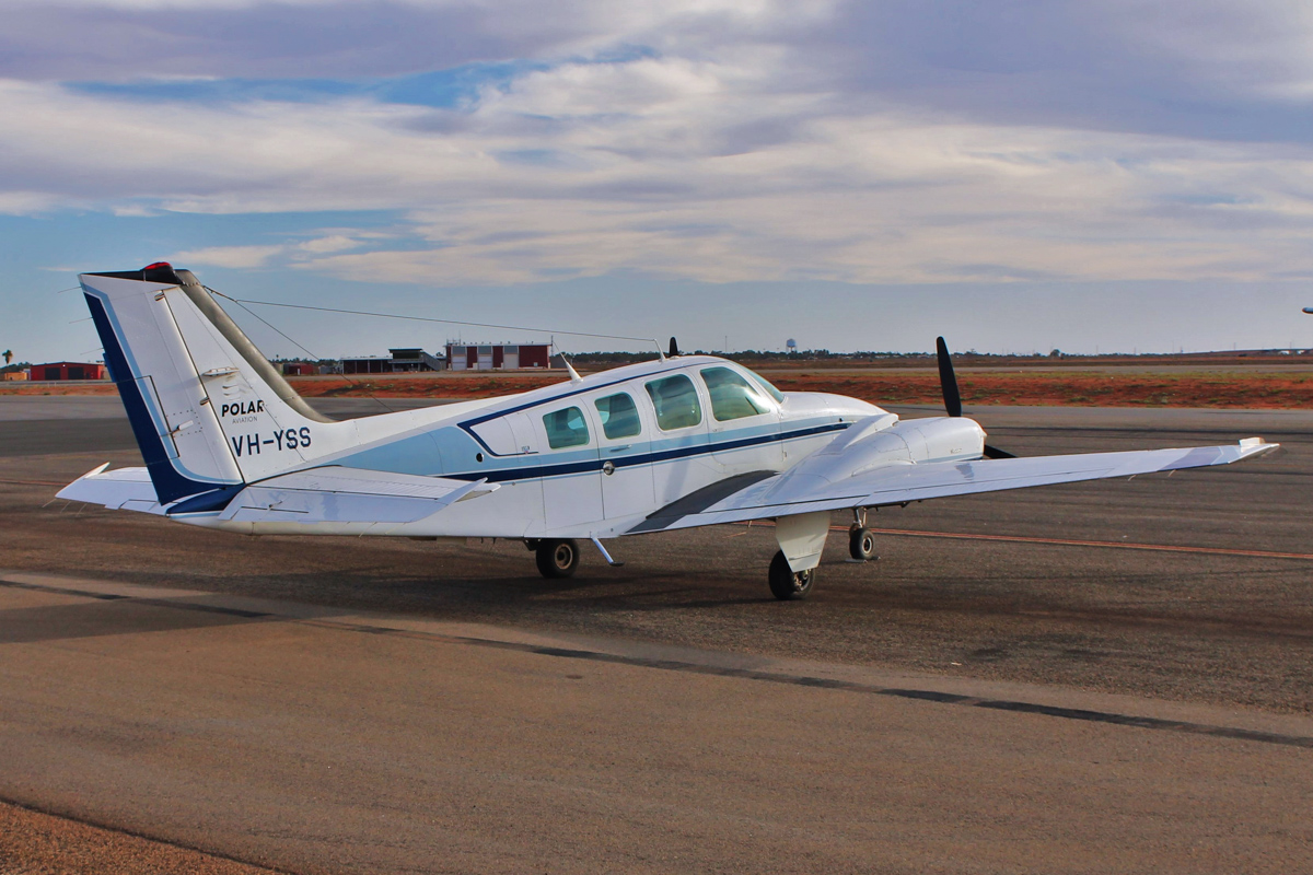 VH-YSS Beech Baron 58 (MSN TH-1732) owned by Polar Aviation, at Port Hedland Airport - Wed 11 May 2016. Photo © Jonathan Williams