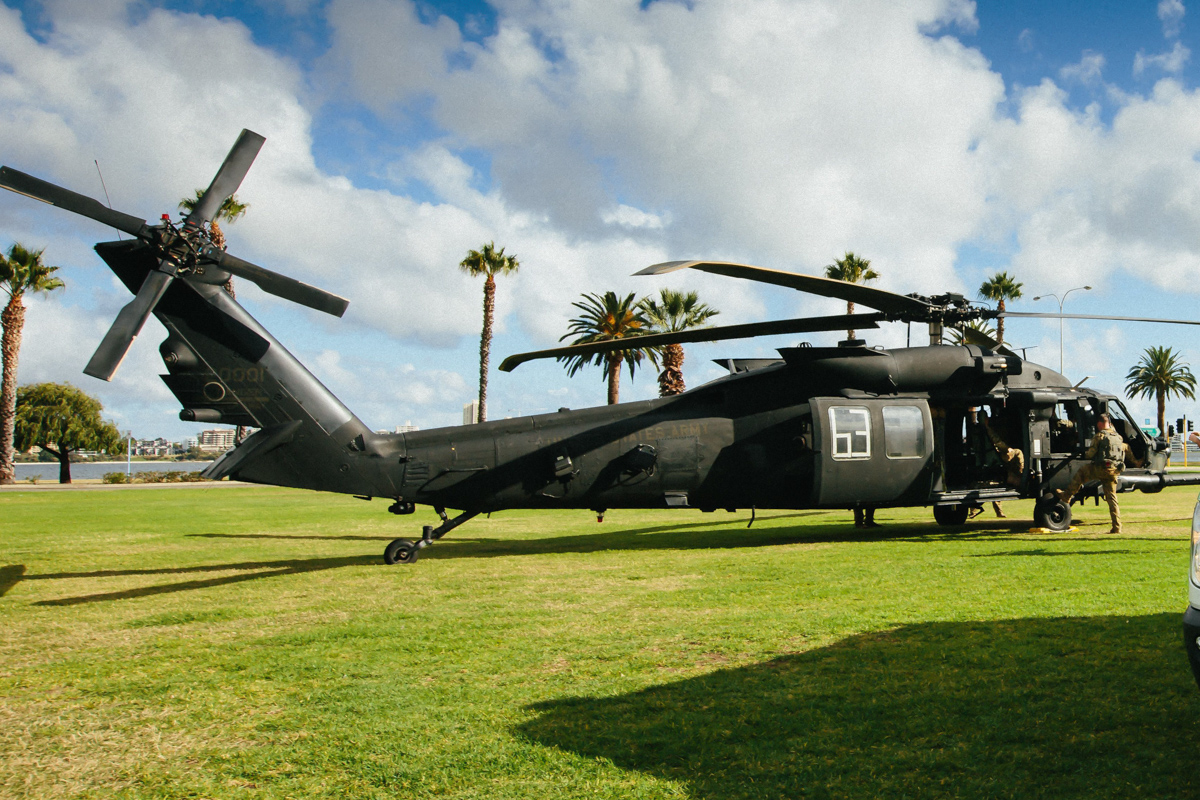 05-20001 Sikorsky MH-60M Blackhawk of the US Army 160th Special Operations Aviation Regiment, at Langley Park, Perth - Fri 13 May 2016. One of three MH-60Ms temporarily deployed to RAAF Base Pearce for an exercise with the Australian Army.  As part of the training they need to be able to safely medivac any potential patients to Royal Perth Hospital, and this MH-60 landed at Langley Park to work with St John Ambulance WA to transfer patients from the helicopters into the hospital.  Photo © Glen Knight