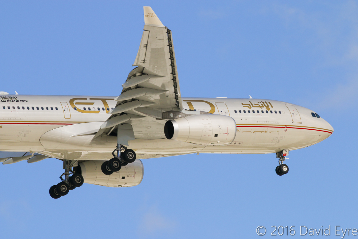 A6-EYU Airbus A330-243 (MSN 1521) of Etihad, at Perth Airport - Fri 13 June 2016. Etihad will be switching to Boeing 787-9 Dreamliners on this service from 1 June 2016. On final approach to runway 24 at 1:55pm, as flight EY486 from Abu Dhabi. Photo © David Eyre