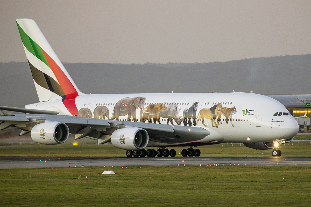 A6-EOM Airbus A380-861 (MSN 187) of Emirates at Perth airport – 16 May 2016.