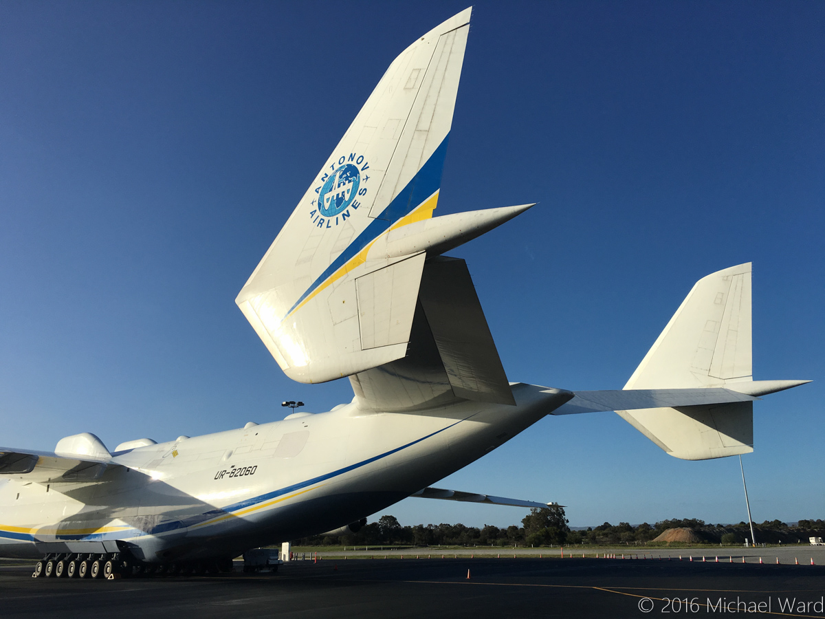 UR-82060 Antonov An-225 Mriya (MSN 19530503763/01-01) of Antonov Airlines (Antonov Design Bureau) at Perth Airport - Mon 16 May 2016. Parked at Bay 162, opposite the International Terminal 1. This was the first visit by the An-225 to Australia. It arrived at 11:52AM the previous day (15 May 2016) from Kuala Lumpur as ADB3610, carrying a 117-tonne Brush generator for Worsley Alumina Refinery. It departed at 5:58AM on 17 May as ADB3655 to Dubai World Centre, carrying a smaller amount of cargo. Photo © Michael Ward