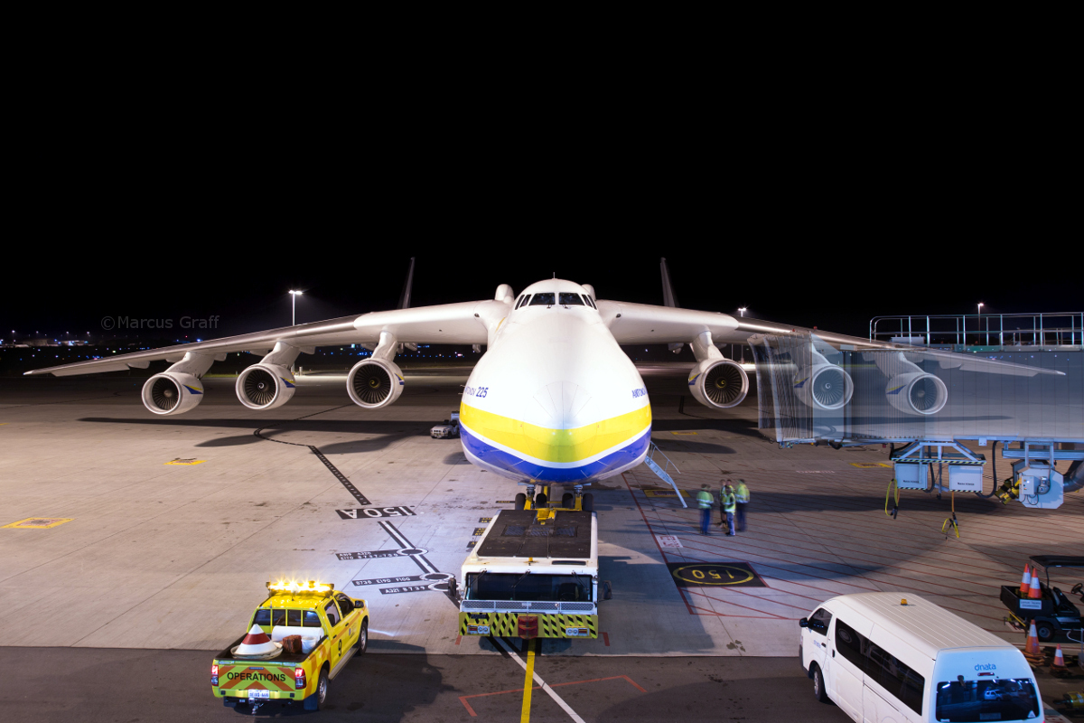 UR-82060 Antonov An-225 Mriya (MSN 19530503763/01-01) of Antonov Airlines (Antonov Design Bureau) at Perth Airport - Tue 17 May 2016. Parked at Bay 150 / Gate 50 at Terminal 1 Domestic (Virgin) at 4:04AM, after refuelling. Refuelling took two hours! It was then towed back to Bay 162 before departing to Dubai World Centre as ADB3655 at 5:58AM. Photo © Marcus Graff