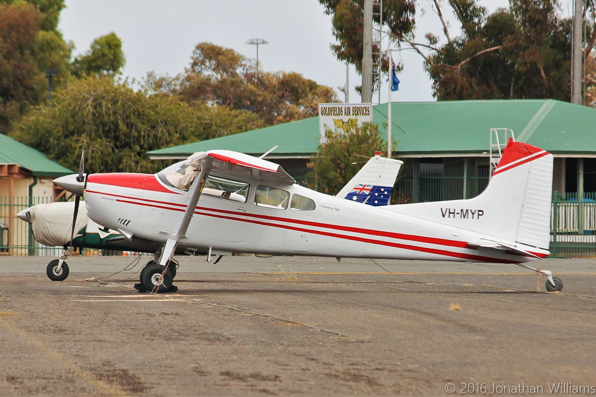 VH-MYP Cessna 180K Skywagon (MSN 18052821) owned by LW's Holdings Pty Ltd, at Kalgoorlie Airport - Thu 19 May 2016. Built in 1977, ex N63039. Photo © Jonathan Williams