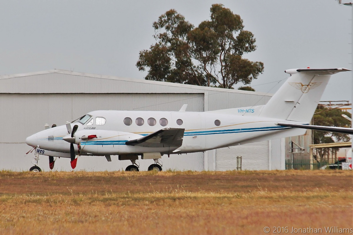 VH-NTS Beech King Air 200C (MSN BL-30) operated by Goldfields Air Services (GAS), at Jandakot Airport – Thu 19 May 2016. Leased from Formula Aviation. Built in 1981, ex N3723Y, VH-TNQ. Photo © Jonathan Williams