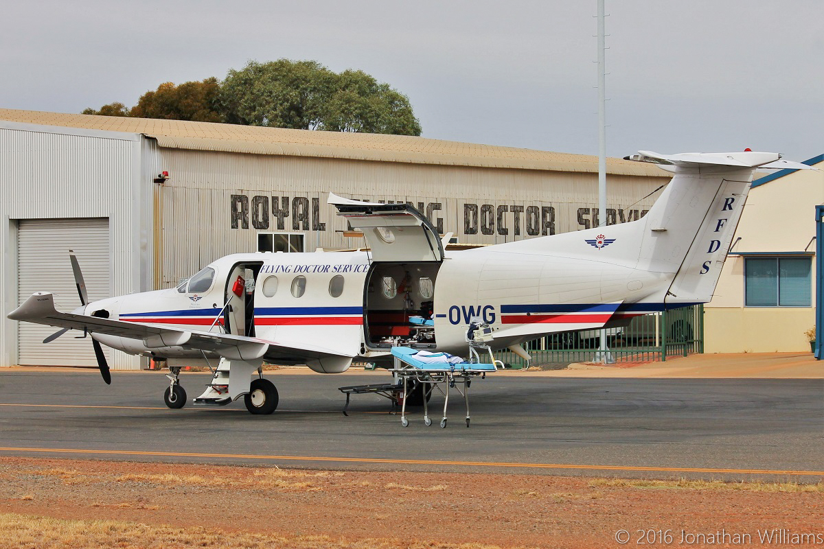 VH-OWG Pilatus PC-12/47E (MSN 1155) of Royal Flying Doctor Service (Western Operations), at Kalgoorlie Airport – Thu 19 May 2016. Photo © Jonathan Williams