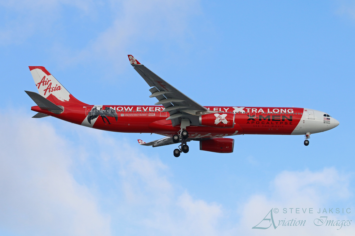 """9M-XXU Airbus A330-343X (MSN 1581) of AirAsia X in """"X-Men Apocalypse"""" livery at Perth Airport – Sat 21 May 2016. First visit to Perth wearing its new this new livery to promote the new X-Men movie. Flight D7 232 from Kuala Lumpur is on final approach to runway 24 at 2:59pm. Photo © Steve Jaksic"""