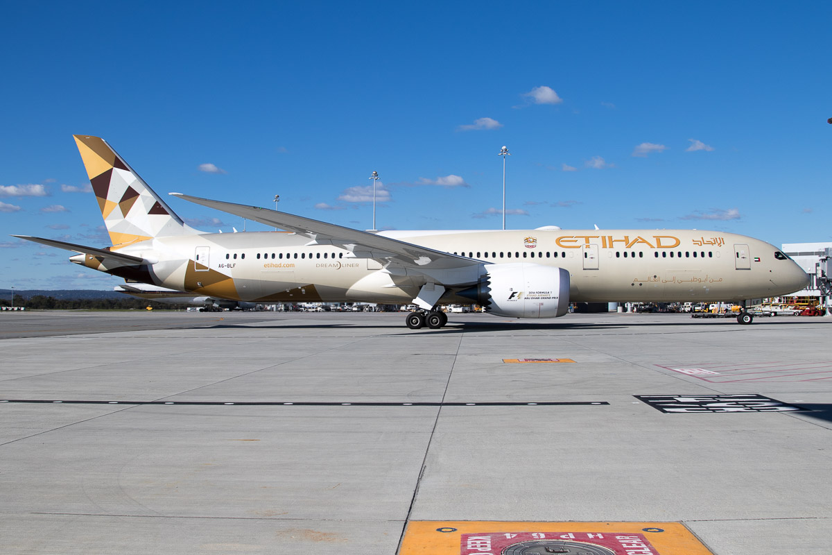 A6-BLF Boeing 787-9 Dreamliner (MSN 39651/416) of Etihad Airways, at Perth Airport - Mon 30 May 2016. * First visit by an Etihad Boeing 787 to Perth.* Etihad's 787-9 aircraft were due to replace the Airbus A330-200 on EY486/EY487 Abu Dhabi - Perth services from 1 June 2016 (arriving 2 June). However, an A330 was replaced (perhaps due to technical issue), with a 787 today. Flight EY486 is seen here at 1:56pm, arriving on Bay 150 (Gate 50) at Terminal 1 Domestic pier. This aircraft is only 2 months old. Photo © Jim Woodrow