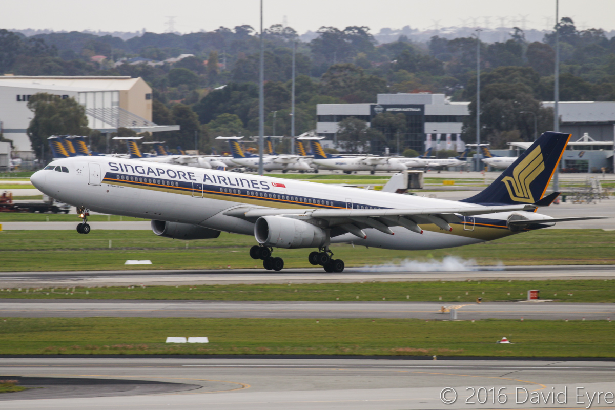 9V-STV Airbus A330-343X (MSN 1427) of Singapore Airlines, at Perth Airport – Sun 15 May 2016. SQ213 from Singapore, landing on runway 21 at 12:50pm. Photo © David Eyre