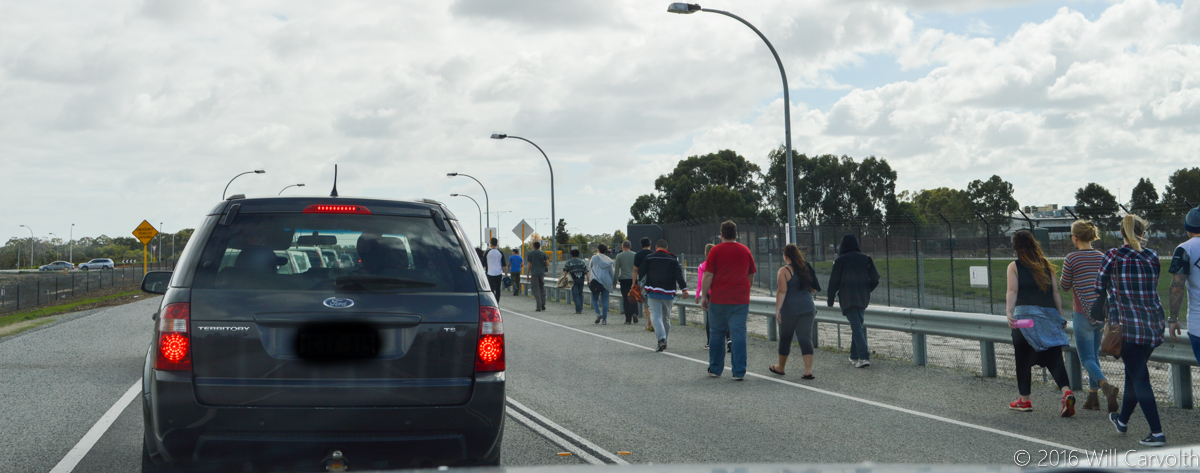 Spectators leaving Dunreath Drive Public Viewing Area after seeing the first visit to Australia by the Antonov An-225 Mriya, Perth Airport - Sun 15 May 2016. Photo © Will Carvolth