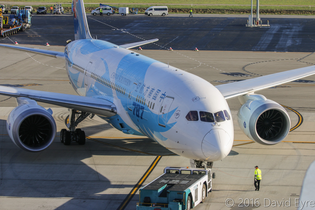 B-2787 Boeing 787-8 Dreamliner (MSN 34931/154) of China Southern Airlines, at Perth Airport - Sun 15 May 2016. Pushback from Bay 152 for engine start at 8:25am as CZ320 to Guangzhou. Photo © David Eyre