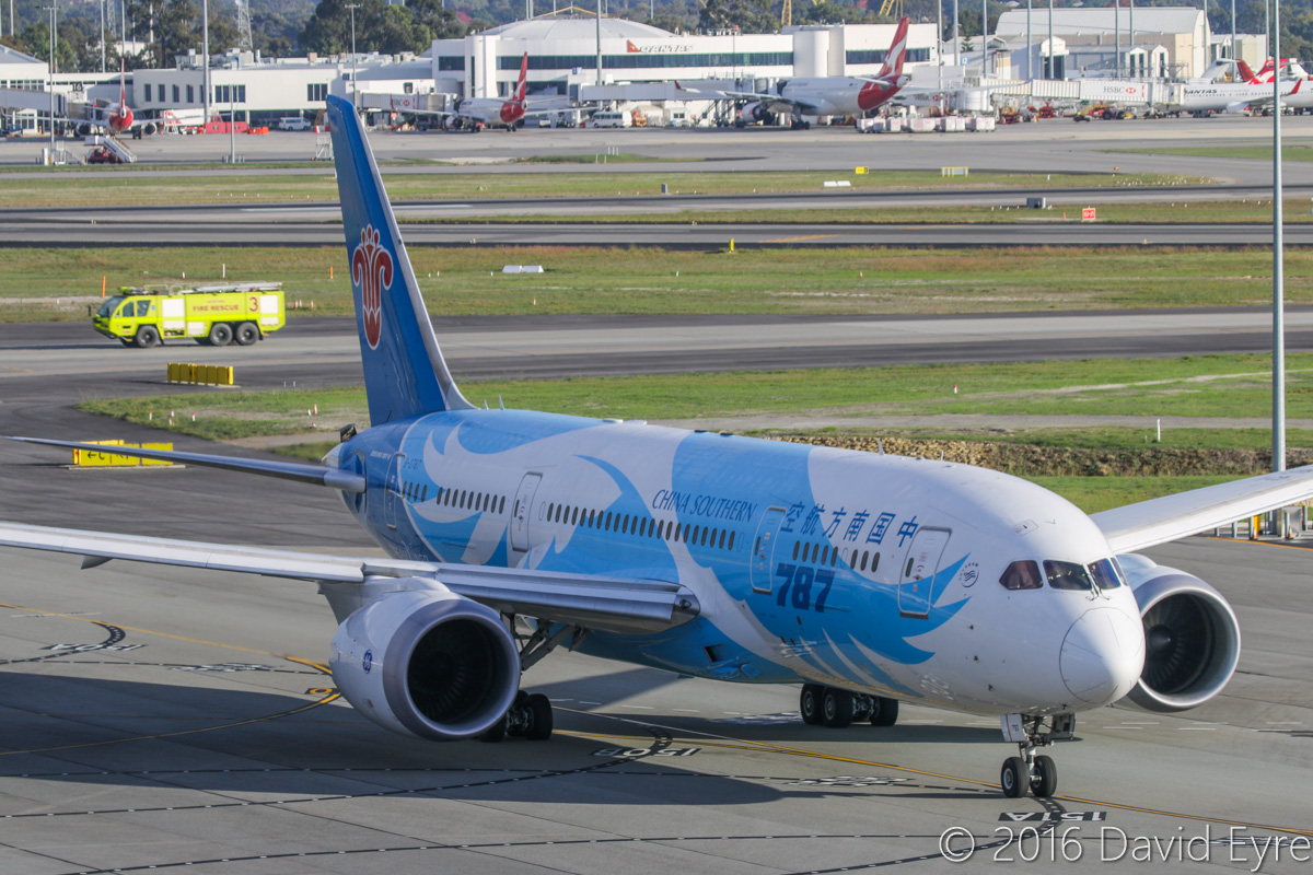 B-2787 Boeing 787-8 Dreamliner (MSN 34931/154) of China Southern Airlines, at Perth Airport - Sun 15 May 2016. Engine start at 8:28am as flight CZ320 to Guangzhou. Photo © David Eyre