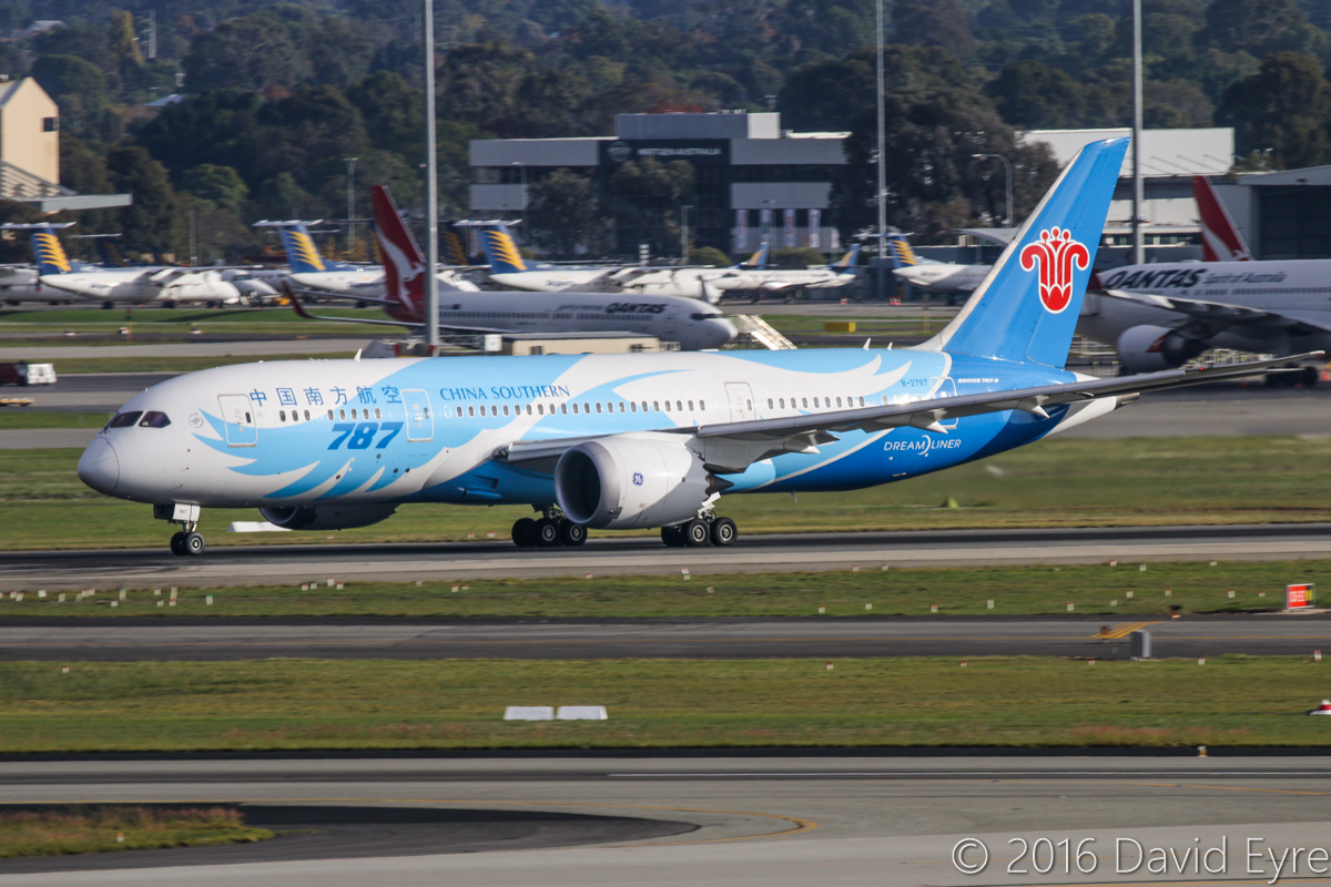 B-2787 Boeing 787-8 Dreamliner (MSN 34931/154) of China Southern Airlines, at Perth Airport - Sun 15 May 2016. Taking off from runway 21 at 8:33am as flight CZ320 to Guangzhou. Photo © David Eyre