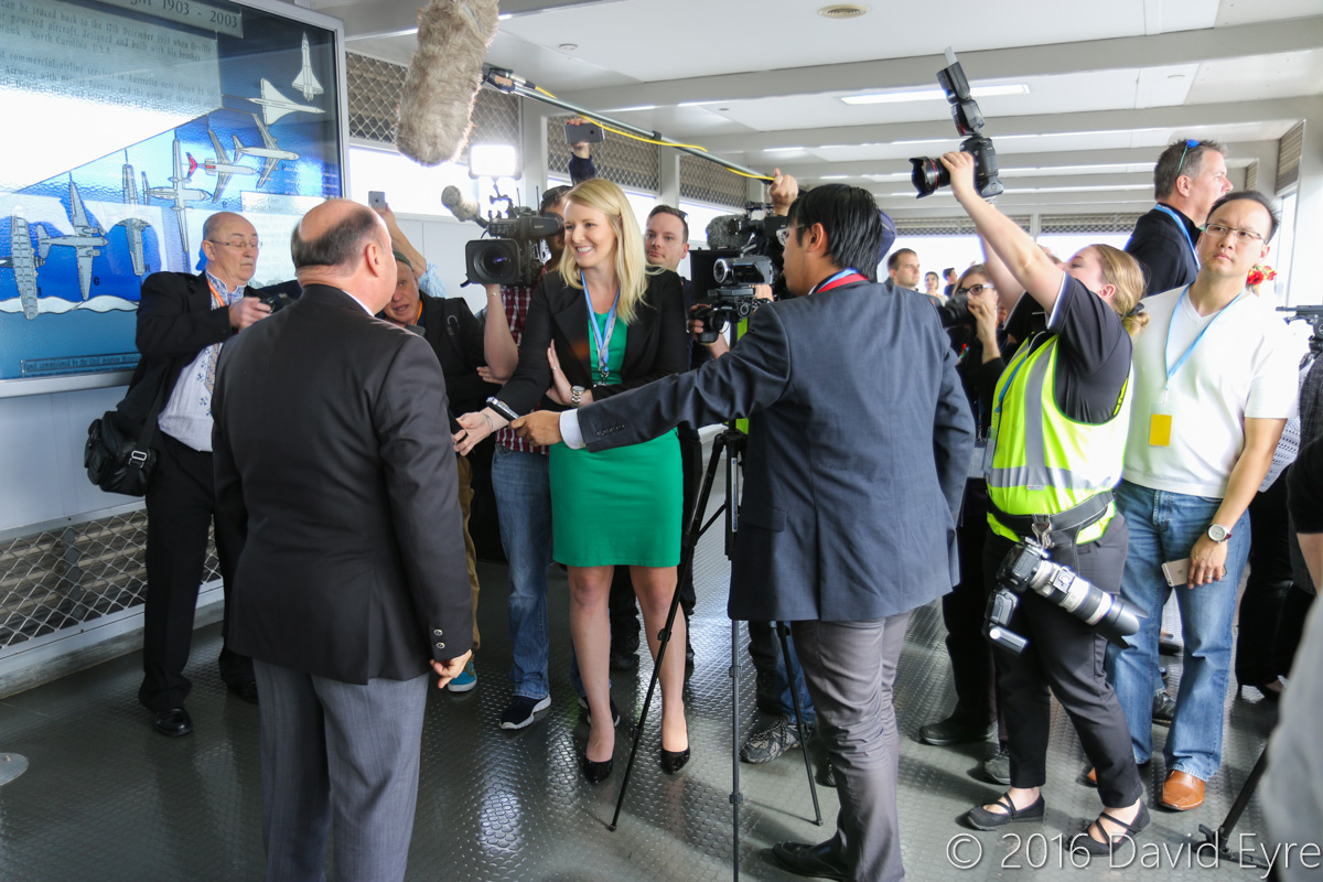 Media interviewing the Ambassador of Ukraine to Australia, Dr Mykola Kulinich, during the visit of Antonov An-225 Mriya, in the Terminal 1 Observation Deck, Perth Airport - Sun 15 May 2016. The Ukrainian community celebrated the arrival of the An-225, as it is designed, built, owned and operated from Ukraine. Dr Kulinich was appointed Ambassador to Australia in November 2015. Photo © David Eyre