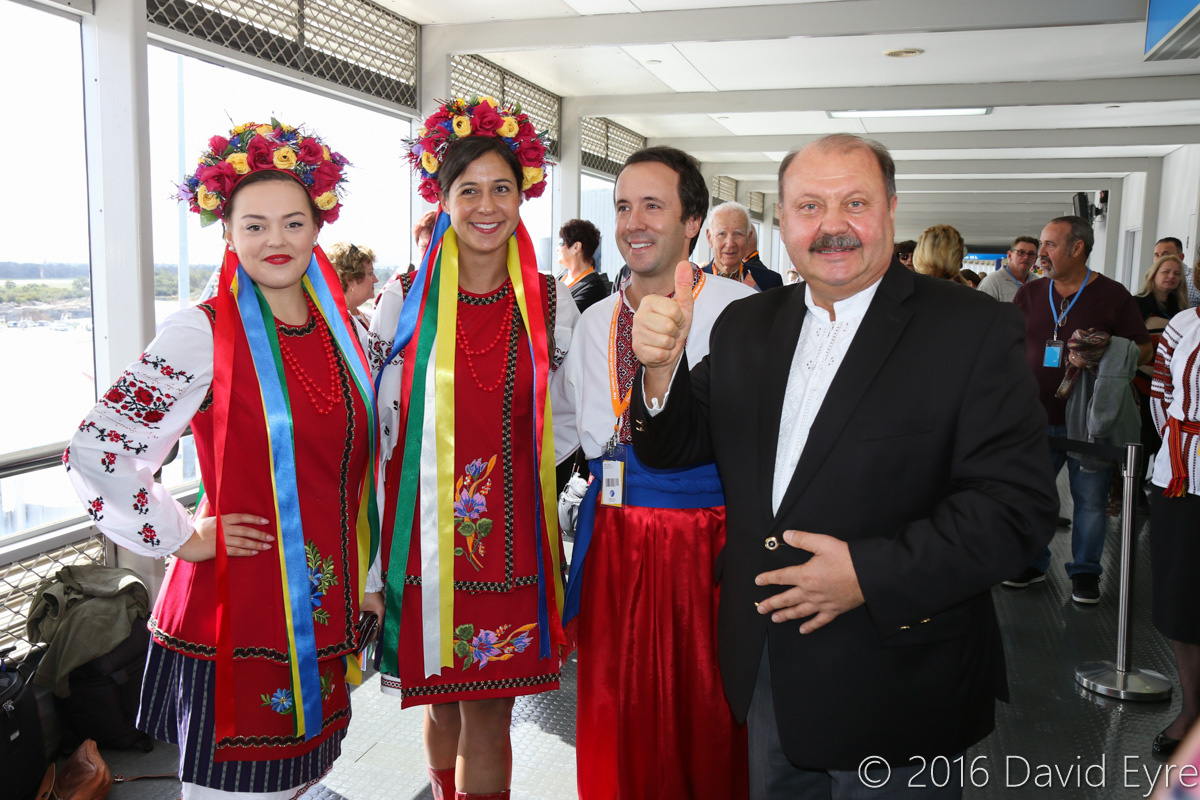 Ambassador of Ukraine to Australia, Dr Mykola Kulinich, with some members of the Ukrainian community in traditional dress, during the visit of Antonov An-225 Mriya, in the Terminal 1 Observation Deck, Perth Airport - Sun 15 May 2016. The Ukrainian community celebrated the arrival of the An-225, as it is designed, built, owned and operated from Ukraine. Dr Kulinich was appointed Ambassador to Australia in November 2015. Photo © David Eyre