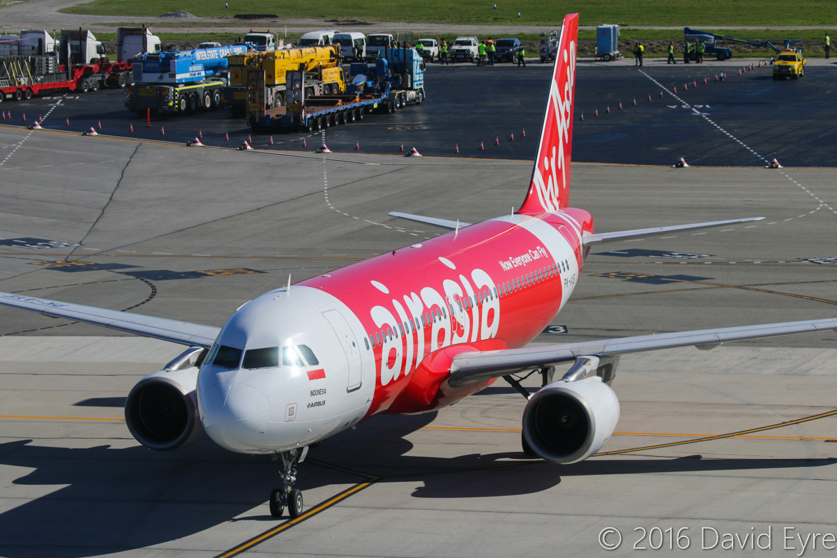 PK-AXE Airbus A320-216 (MSN 3715) of Indonesia AirAsia, at Perth Airport – Sun 15 May 2016. Now wearing the newer AirAsia livery. Flight QZ534 from Denpasar, taxying in at 10:41am. Photo © David Eyre