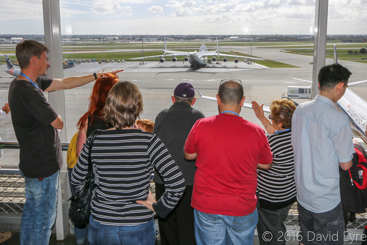 Spectators looking at the Antonov An-225 Mriya and Iron Maiden's Boeing 747-400 from Terminal 1 Observation Deck, Perth Airport - Sun 15 May 2016. Photo © David Eyre