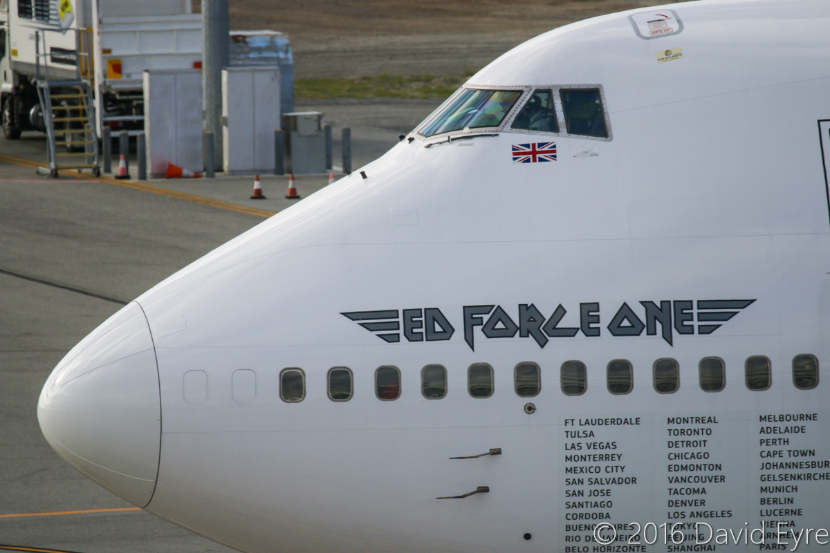 TF-AAK Boeing 747-428 (MSN 32868/1325) leased by Iron Maiden from Air Atlanta Icelandic, named 'Ed Force One', at Perth Airport - Sun 15 May 2016. Being used by the band Iron Maiden on their 'Book of Souls' World Tour - it arrived on 13 May 2016 from Adelaide with the callsign 'ATLANTA 666' for a concert in Perth on 14 May. It is seen here at 2:39pm, after pushback and engine start from Bay 160. It departed at 2:46pm to Cape Town, South Africa. Photo © David Eyre