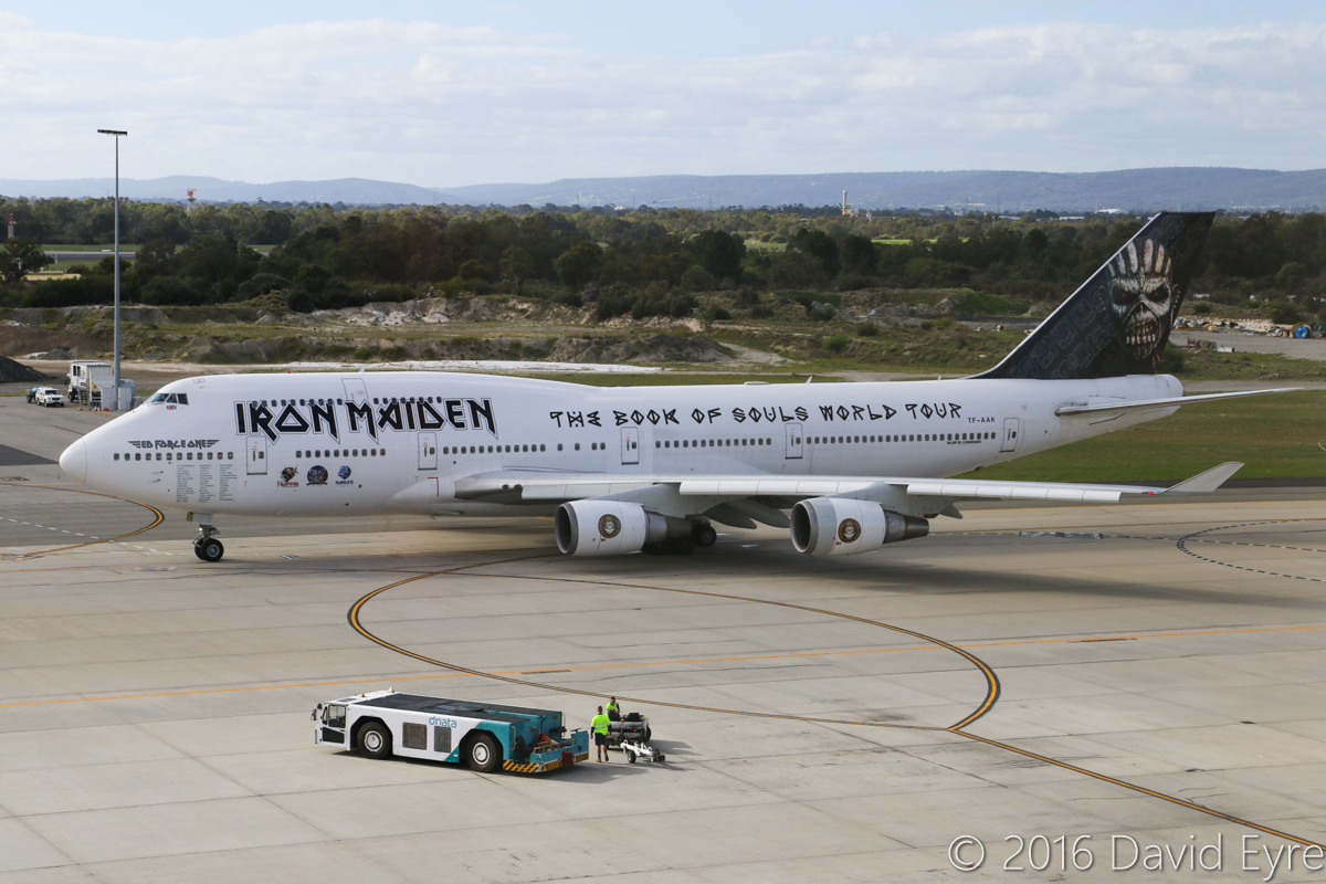 TF-AAK Boeing 747-428 (MSN 32868/1325) leased by Iron Maiden from Air Atlanta Icelandic, named 'Ed Force One', at Perth Airport - Sun 15 May 2016. Being used by the band Iron Maiden on their 'Book of Souls' World Tour - it arrived on 13 May 2016 from Adelaide with the callsign 'ATLANTA 666' for a concert in Perth on 14 May. It is seen here at 2:40pm, about to taxy out. It took off at 2:46pm to Cape Town, South Africa. Photo © David Eyre