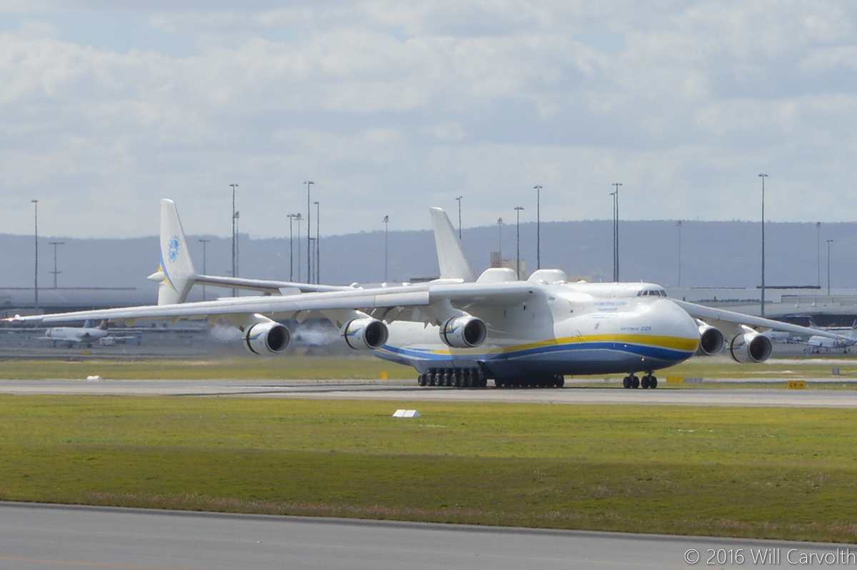 UR-82060 Antonov An-225 Mriya (MSN 19530503763/01-01) of Antonov Airlines (Antonov Design Bureau) at Perth Airport - Sun 15 May 2016. First visit by the An-225 to Australia. Landing on runway 21 at 11:52AM from Kuala Lumpur as ADB3610, carrying a 117-tonne Brush generator from Prague, for Worsley Alumina Refinery. Photo © Will Carvolth