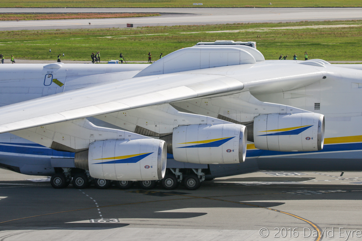 UR-82060 Antonov An-225 Mriya (MSN 19530503763/01-01) of Antonov Airlines (Antonov Design Bureau) at Perth Airport - Sun 15 May 2016. First visit by the An-225 to Australia. Landed on runway 21 at 11:52AM from Kuala Lumpur as ADB3610, carrying a 117-tonne Brush generator from Prague, for Worsley Alumina Refinery. Seen here at 12:06PM, as it slowly taxied to Bay 162, opposite the International Terminal. The bumps on the top of the fuselage are mounting points for carrying external loads, and were previously used to carry the Buran space shuttle. Powered by six ZMKB Progress D-18 turbofans, of 229.5 kN (51,600 lbs) thrust each. Photo © David Eyre