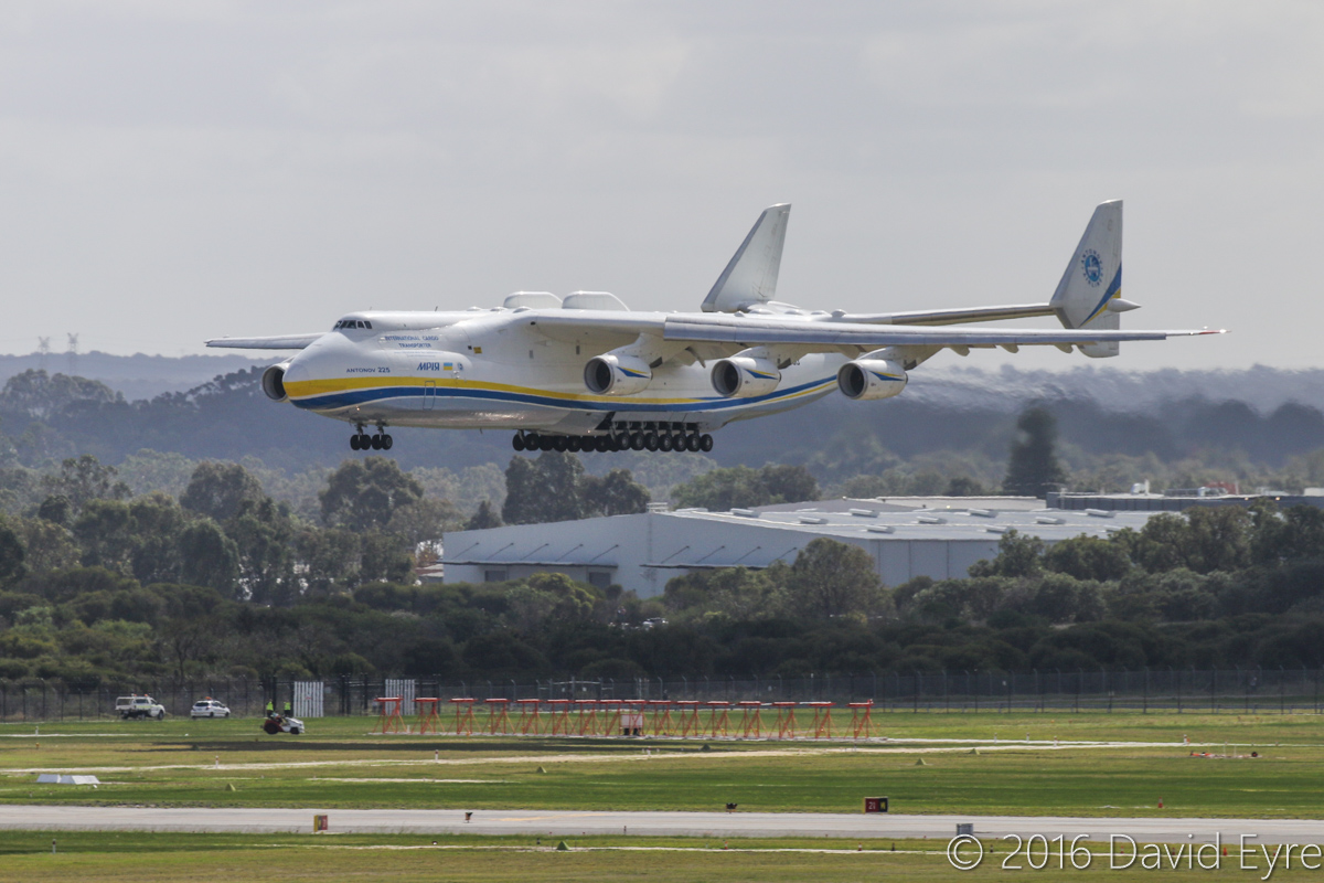 UR-82060 Antonov An-225 Mriya (MSN 19530503763/01-01) of Antonov Airlines (Antonov Design Bureau) at Perth Airport - Sun 15 May 2016. First visit by the An-225 to Australia. Landing on runway 21 at 11:52AM from Kuala Lumpur as ADB3610, carrying a 117-tonne Brush generator from Prague, for Worsley Alumina Refinery. Photo © David Eyre
