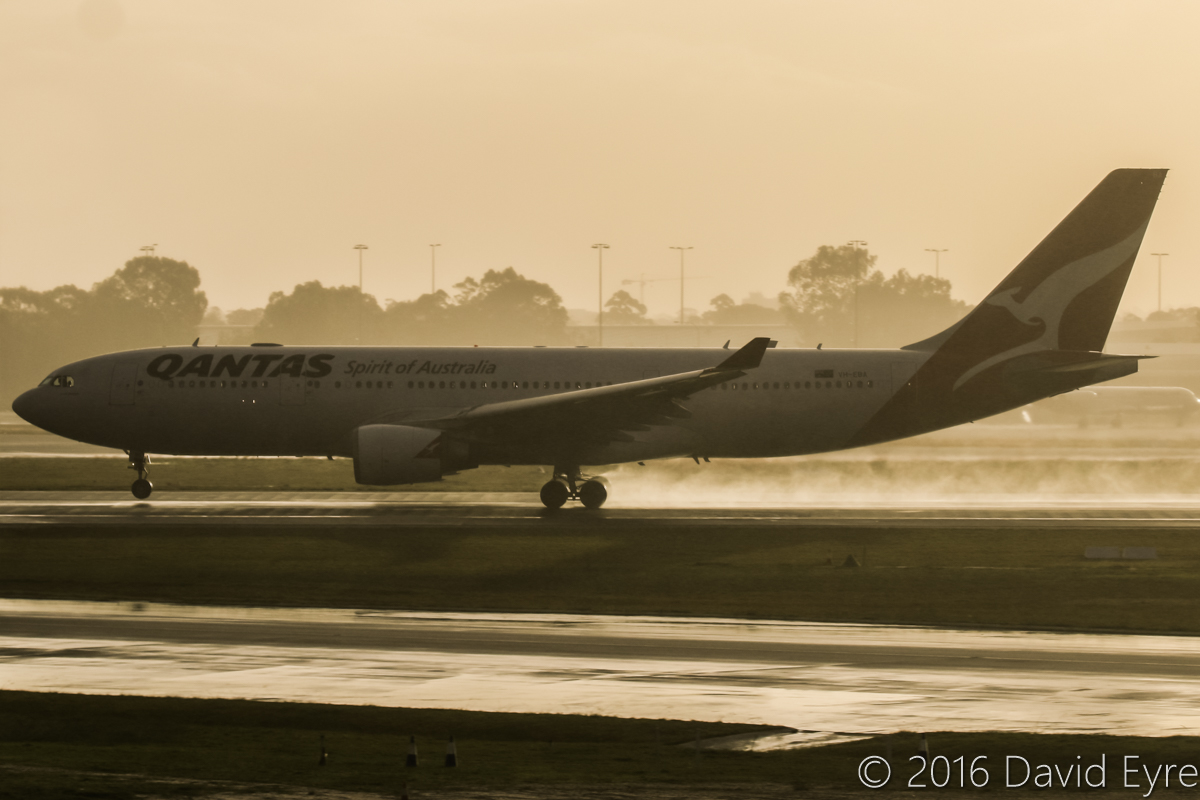 VH-EBA Airbus A330-202 (MSN 508) of Qantas, named 'Cradle Mountain', at Perth Airport - Sun 15 May 2016. QF594 to Brisbane, taking off from runway 21 in the rain, at 4:36pm. Photo © David Eyre