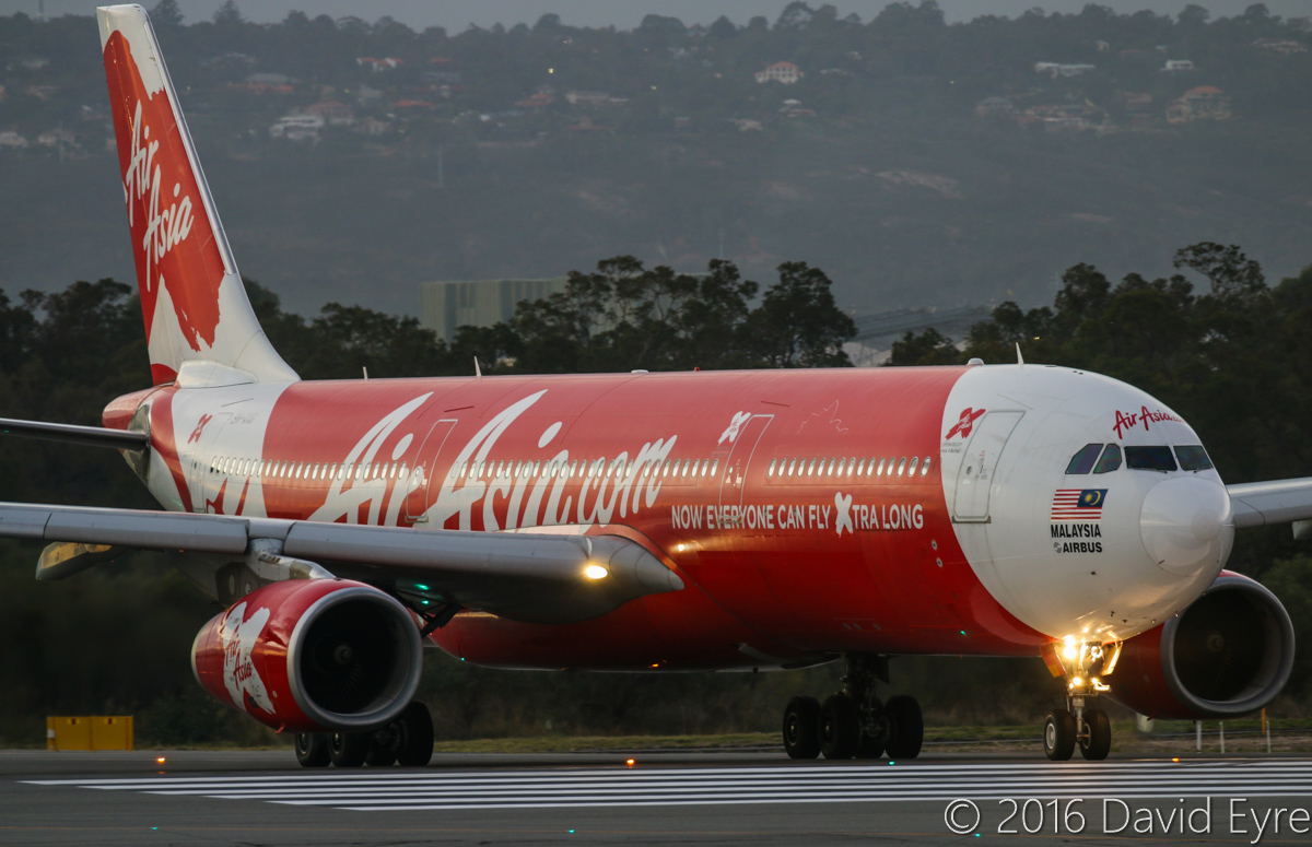 9M-XXG Airbus A330-343X (MSN 1131) of AirAsia X, named 'Southern Xross', at Perth Airport - Tue 17 May 2016. Flight D7237 to Kuala Lumpur, lining-up on runway 03 at 6:50am for takeoff. Photo © David Eyre