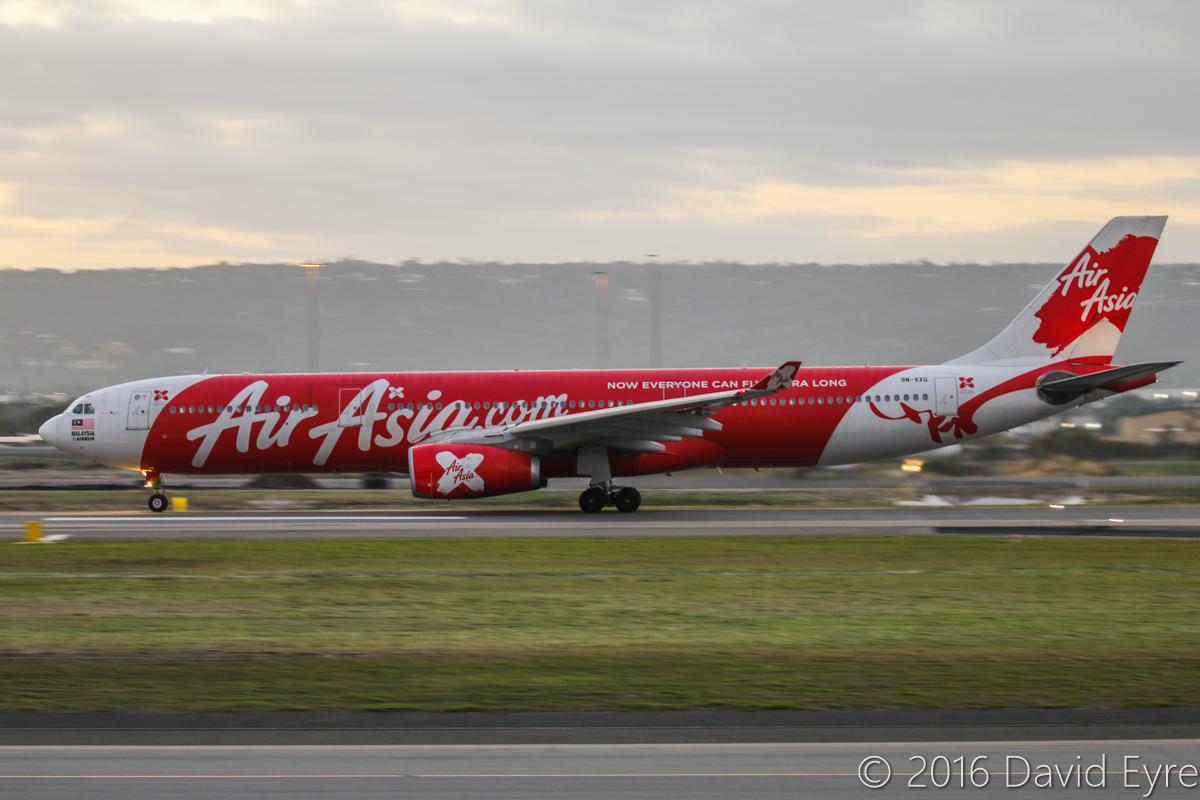 9M-XXG Airbus A330-343X (MSN 1131) of AirAsia X, named 'Southern Xross', at Perth Airport - Tue 17 May 2016. Flight D7237 to Kuala Lumpur, taking off from runway 03 at 6:51am. Photo © David Eyre